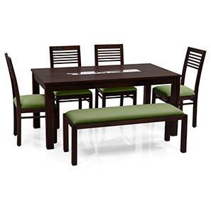 Brighton Large - Zella 6 Seater Dining Table Set (With Upholstered Bench) (Mahogany Finish, Avocado Green)