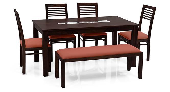 Brighton Large - Zella 6 Seater Dining Table Set (With Upholstered Bench) (Mahogany Finish, Burnt Orange) by Urban Ladder