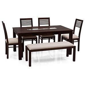 Brighton Large - Zella 6 Seater Dining Table Set (With Upholstered Bench) (Mahogany Finish, Wheat Brown)