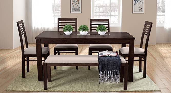 Brighton Large - Zella 6 Seater Dining Table Set (With Upholstered Bench) (Mahogany Finish, Wheat Brown) by Urban Ladder