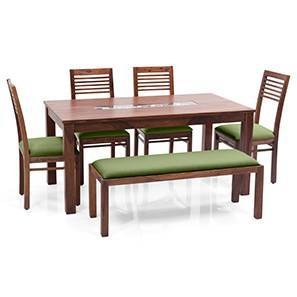 Brighton Large - Zella 6 Seater Dining Table Set (With Upholstered Bench) (Teak Finish, Avocado Green) by Urban Ladder