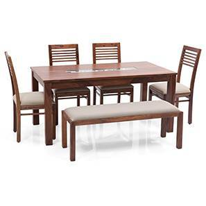 Brighton Large - Zella 6 Seater Dining Table Set (With Upholstered Bench) (Teak Finish, Wheat Brown) by Urban Ladder