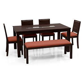 Brighton Large - Oribi 6 Seater Dining Table Set (With Upholstered Bench) (Mahogany Finish, Burnt Orange) by Urban Ladder
