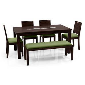 Brighton Large - Oribi 6 Seater Dining Table Set (With Upholstered Bench) (Mahogany Finish, Avocado Green) by Urban Ladder