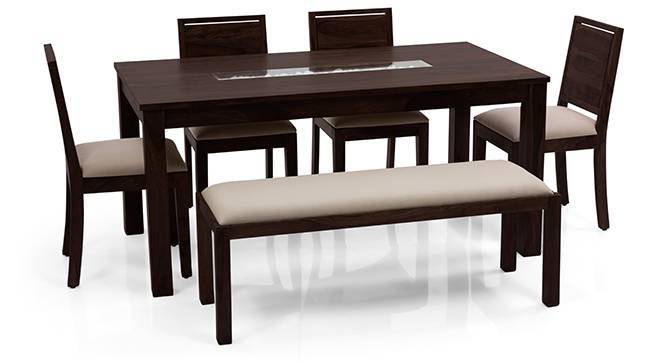 Brighton Large - Oribi 6 Seater Dining Table Set (With Upholstered Bench) (Mahogany Finish, Wheat Brown) by Urban Ladder
