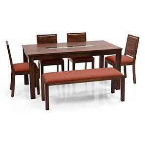 Brighton Large - Oribi 6 Seater Dining Table Set (With Upholstered Bench) (Teak Finish, Burnt Orange) by Urban Ladder