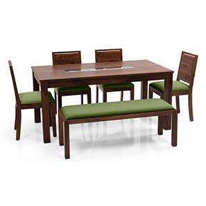 Brighton Large - Oribi 6 Seater Dining Table Set (With Upholstered Bench) (Teak Finish, Avocado Green) by Urban Ladder