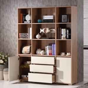 Iwaki Bookshelf (Solid Oak Finish, 3 Drawer 2 Cabinet Configuration)