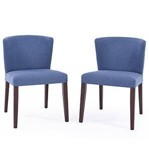Avalon Dining Chair - Set of 2 (Blue, Dark Walnut Finish)