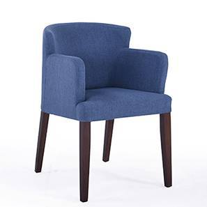 Avalon Armchair (Blue, Dark Walnut Finish)