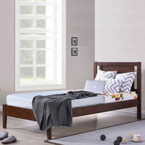 Brandenberg Single Bed (Single Bed Size, Dark Walnut Finish)