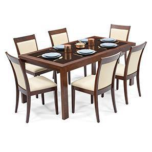 Vanalen 6-to-8 Extendable - Dalla 6 Seater Glass Top Dining Table Set (Dark Walnut Finish, Latte) by Urban Ladder
