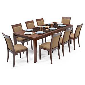 Vanalen 6-to-8 Extendable - Dalla 8 Seater Glass Top Dining Table Set (Cappuccino, Dark Walnut Finish)