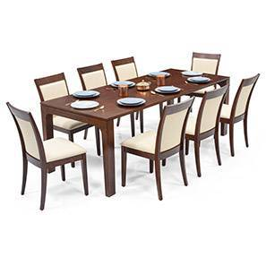 Arco - Dalla 8 Seater Dining Table Set (Dark Walnut Finish, Latte) by Urban Ladder