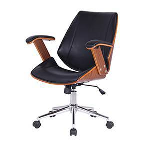 Ray Study Chair (Walnut Finish, Black) by Urban Ladder