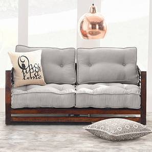 Raymond Low Wooden Sofa 2 Seater (Walnut Finish, Grey) by Urban Ladder