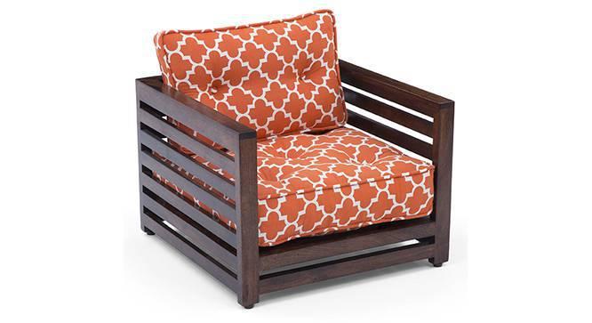 Raymond Low Wooden Sofa Standard Set 1-1 (Walnut Finish, Rust) by Urban Ladder