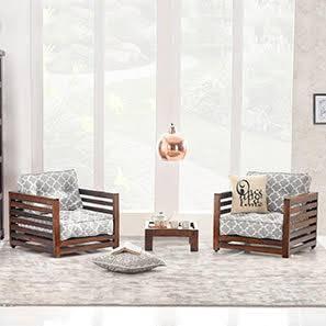 Raymond Low Wooden Sofa Standard Set 1-1 (Walnut Finish, Grey)