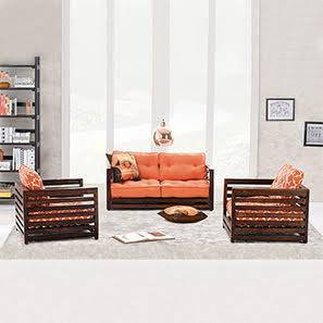 Raymond Low Wooden Sofa Standard Set 2-1-1 (Walnut Finish, Rust) by Urban Ladder