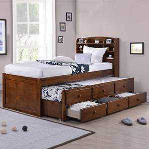 Ateneo Storage Headboard Single Bed with Trundle and Storage (Single Bed Size, Polished Cherry Finish)