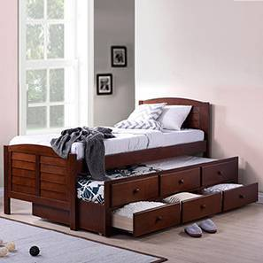 Fitzroy Single Bed With Trundle And Storage Size Dark Walnut Finish