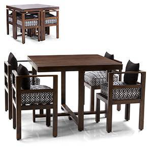 Kivaha Dining Table Set (Walnut Finish, Black)