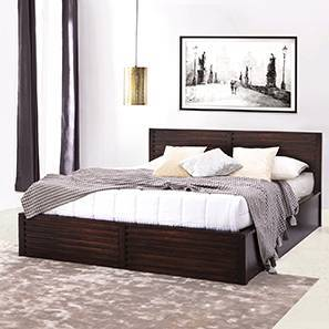 Rille Box Storage Bed (Mahogany Finish, Queen Bed Size)