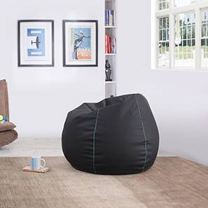 Baggo Leatherette Beanbag (Black, Standard Size, Without Beans Variant) by Urban Ladder