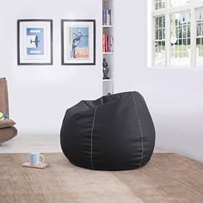 Baggo Leatherette Beanbag (Black, Standard Size, With Beans Variant)