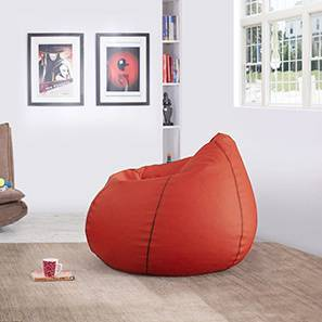 Baggo Leatherette Beanbag (Red, Standard Size, With Beans Variant) by Urban Ladder