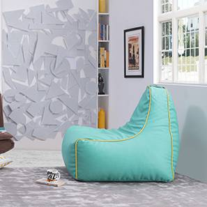 Hackey Leatherette Beanbag Chair (Teal, Large Size, With Beans Variant)