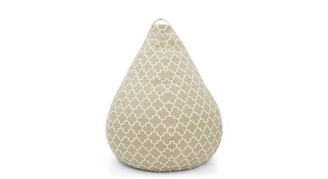 Baggo Canvas Beanbag (Large Size, Without Beans Variant, Moroccan Lattice Beige) by Urban Ladder