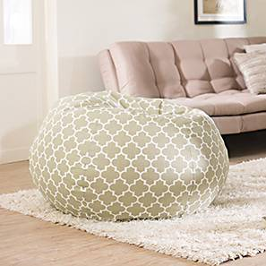 Baggo Canvas Beanbag (Standard Size, With Beans Variant, Moroccan Lattice Beige)