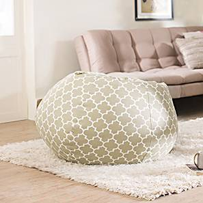 Baggo Canvas Beanbag (Large Size, With Beans Variant, Moroccan Lattice Beige)