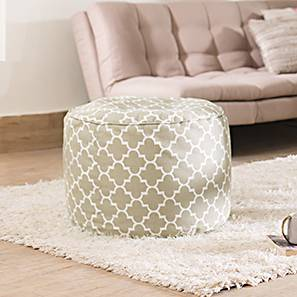 Baggo Round Canvas Pouffe (Large Size, With Beans Variant, Moroccan Lattice Beige)