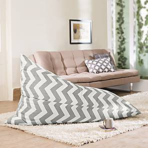 Gunni Canvas Beanbag Chair (Without Beans Variant, Chevron Grey) by Urban Ladder
