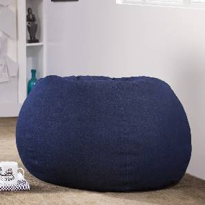 Baggo Denim Beanbag (Blue, Large Size, Without Beans Variant) by Urban Ladder