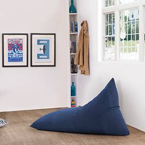 Gunni Denim Beanbag Chair (Blue, Without Beans Variant) by Urban Ladder