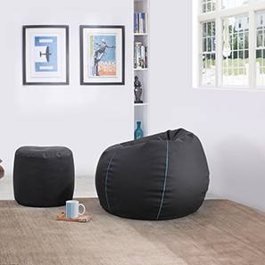 Baggo Leatherette Beanbag Lounge Set (Black, Standard Size, Without Beans Variant) by Urban Ladder