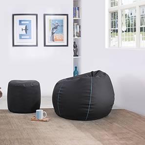 Baggo Leatherette Beanbag Lounge Set (Black, Standard Size, With Beans Variant)