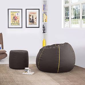 Baggo Leatherette Beanbag Lounge Set (Brown, Standard Size, Without Beans Variant)