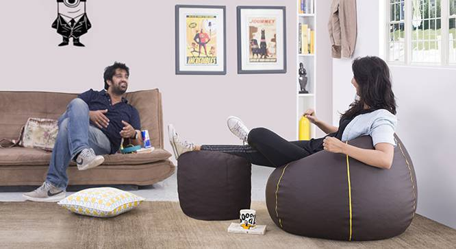 Baggo Leatherette Beanbag Lounge Set (Brown, Standard Size, With Beans Variant) by Urban Ladder