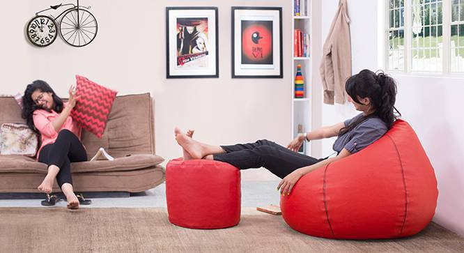 Baggo Leatherette Beanbag Lounge Set (Red, Standard Size, With Beans Variant) by Urban Ladder