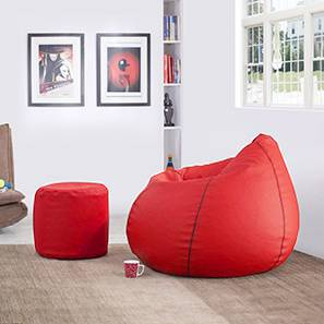 Baggo Leatherette Beanbag Lounge Set (Red, Large Size, With Beans Variant)