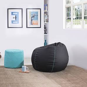 Baggo Leatherette Beanbag Lounge Set (Standard Size, Without Beans Variant, Black & Teal) by Urban Ladder