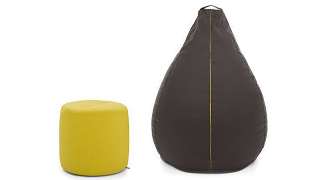 Baggo Leatherette Beanbag Lounge Set (Standard Size, With Beans Variant, Brown & Yellow) by Urban Ladder