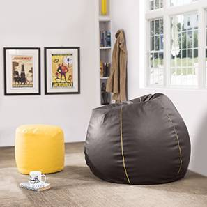 Baggo Leatherette Beanbag Lounge Set (Large Size, With Beans Variant, Brown & Yellow)