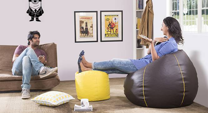 Baggo Leatherette Beanbag Lounge Set (Large Size, With Beans Variant, Brown & Yellow) by Urban Ladder