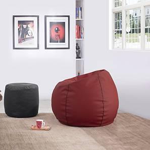 Baggo Leatherette Beanbag Lounge Set (Standard Size, Without Beans Variant, Red & Black)