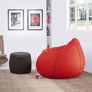 Baggo Leatherette Beanbag Lounge Set (Large Size, With Beans Variant, Red & Black) by Urban Ladder